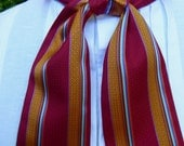 Deep red, gold and blue stripe silk cravat, 19th century style