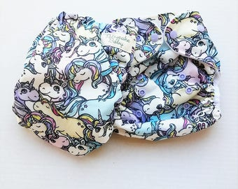 One Size, cloth diaper cover, fleece lined PUL with AI2 option, unicorns, ponies, horses