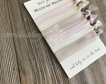 Will you be my Bridesmaid set of 3+ Blush Ivory Champagne hair ties -  Flower Girl - Maid of Honor -  Matron of Honor Hair Ties - Favor