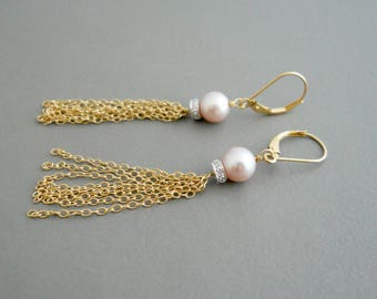 Diamond Tassel Earrings, Gold Tassel, Freshwater Pearl Earrings Long Dangle Earrings, Long Drop Earrings, Shoulder Dusters, Chain Earrings
