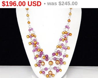 Spring Fling Sale Gold Pearl & Ruby Bead Necklace - Sterling Silver Bib - Signed Modernist 1980's - 1990's Vintage Jewelry - Signed DP