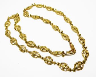 Anne Dick Chain Link Necklace - Gold Tone Circle & Cross Links - Brutalist Hammered - Signature U Ball Design Vintage 1960s 1970s