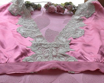 Vintage Silk Pink Nightgown Top Cotton French Lace