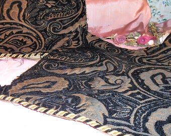 Vintage Fabric Gold Black Upholstery Remnant
