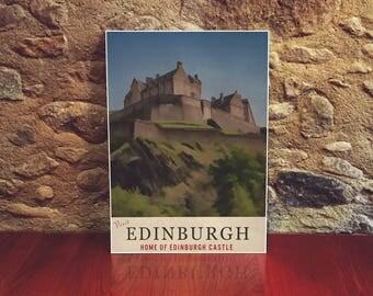 Edinburgh Art 12x18 Poster Art Print European Travel Poster Vintage Style Scotland Art Edinburgh Castle