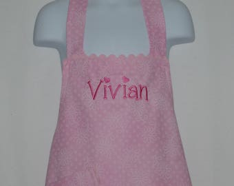 Little Girls Pink Apron, Gift From Grandparent, Apron For Young Child, Custom Personalize With Name, No Shipping Fee, Ships TODAY AGFT 851