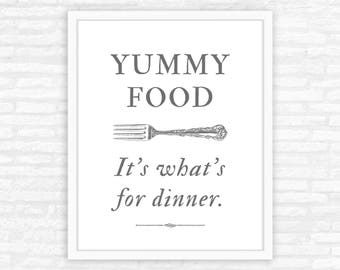Mother Gift, Funny Kitchen Wall Art Print, Yummy Food, what's for dinner, gift for mom