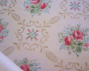 Vintage Wallpaper c1940 Remnant piece ROSES and blue FMN flowers on Buttercream background Shabby Cottage DIY Repurpose Journal Mixed Media
