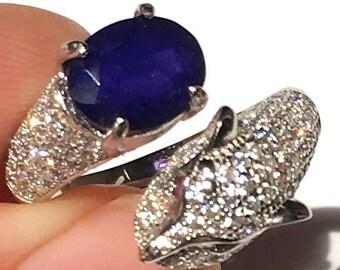 Size 6 1/2, Blue Welo Opal, Ethiopian Opal Ring, Welo Opal Ring, Leopard Head Design, Ruby Eyes, Sterling Silver Ring, Natural Opal, OOAK