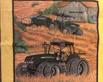 A Wonderful Farming Tractors In The Field With Barn Cotton Fabric Panel Free US Shipping