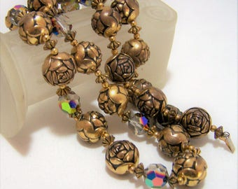 Gold Tone Rose Flower Bead Necklace,  Aurora Borealis Faceted Glass Beads, Antiqued Finish, Vintage Floral Jewelry, Costume Jewellery 317