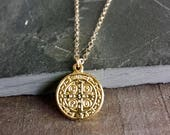 Small Gold Coin Pendant Necklace, Gold Pendant, Gold Coin, St. Benedict, Saint Benedict, San Benito, Gold Cross, Religious Medal Gold