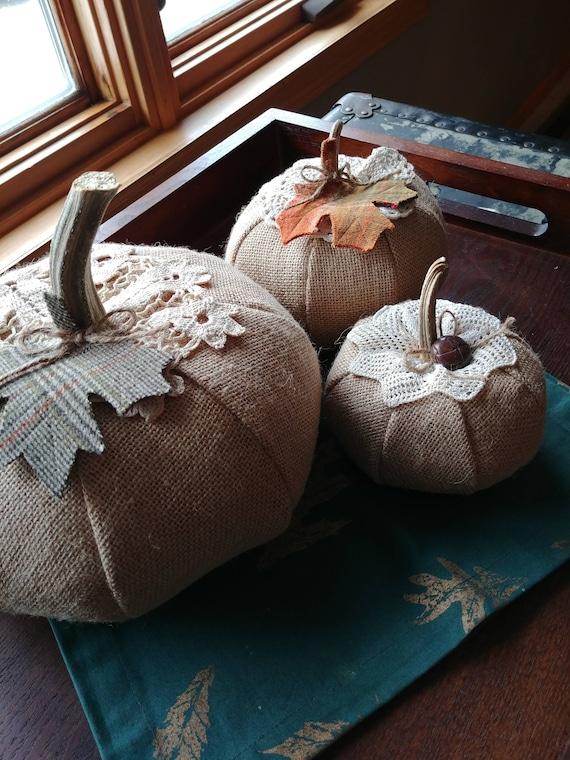 Set of 3 burlap pumpkins with vintage doilies