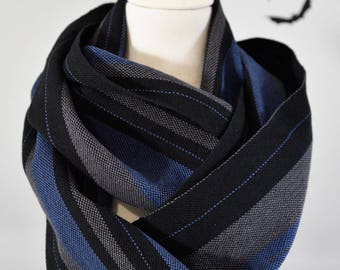 MEN'S Handwoven Cotton Loop Scarf - Blue, Charcoal + Black