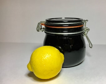 Vintage Storage Canister Black Milk Glass Canning Jar With Bail