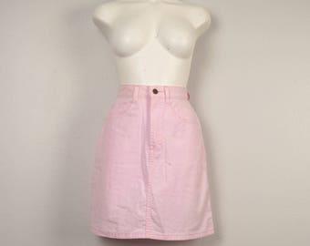 short pink denim skirt 80s 90s pale pink high waist Palmettos mini skirt XXS XS juniors 23 inch waist A line cotton