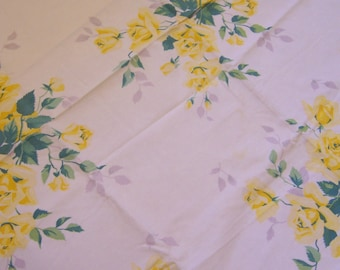 lovely yellow flowers linen table cloth