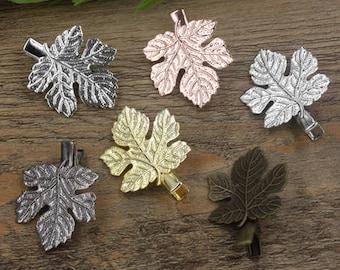 10 Brass Alligator Hair Clips W/ 32mm Filigree Leaf Antique Bronze / Silver / Gold / Rose Gold / White Gold / Gun-Metal Plated- Z7137