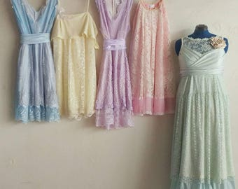 Custom pastel bridesmaids dresses, pink, yellow, blue, mint, green dresses, lace dress, custom made, handmade, upcycled, vintage, wedding
