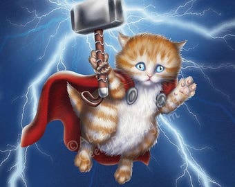 SALE Kitten Thor - 8x10 art print - kitten Thor flying with his hammer