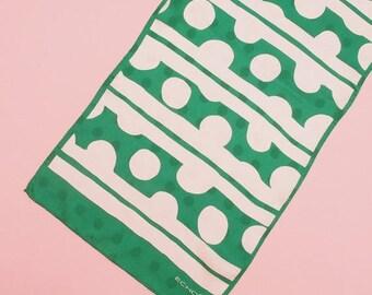 ON SALE 60s 70s Geometric Print Scarf // Mod Scarf // Vintage Scarf // Designer Scarf // Green Scarf // Silk Scarf // Echo Scarf