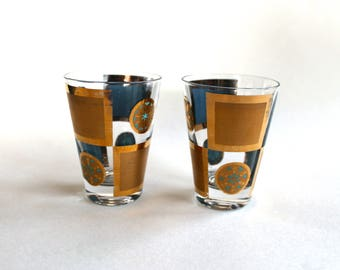 Vintage Lot of 2 1950s Teal and Gold Cocktail Glasses!