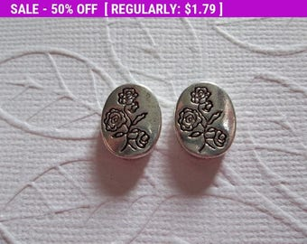 50% OFF Clearance SALE Silver Long Stem Rose Bouquet Print Oval Beads - Silver Plated Pewter - 10mm X 13mm - Qty 6