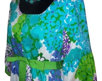 Vintage MALIA Honolulu Hawaiian Cotton Maxi Dress Sz 14