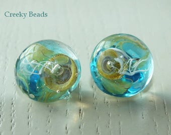 Handmade Lampwork Shank Button - Turquoise Jelly Fish - Creeky Beads