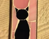 Black cat mosaic pendant with pink background for Caroline