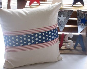 Canvas Stars and Stripes Pillow Cover