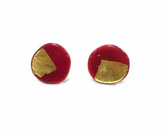 Red Glass and Gold Leaf Stud Earrings