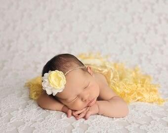 Yellow Lace Wrap and Headband Set, Newborn Photo Prop, Baby Girl Prop, Newborn Photo Prop, Fringe Wrap, Tieback Headband