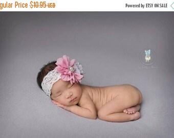 ON SALE Vintage Baby Headband, Newborn Photography Prop, Baby Girl Headband, Photography Prop
