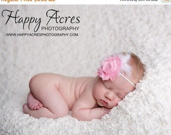 ON SALE PINK chiffon headband, shabby chic headband, newborn headband, baby headband, photography prop