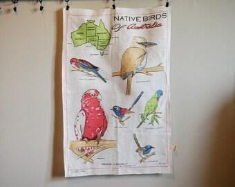 Tea Towel Australia Birds Vintage Travel Souvenir Linen