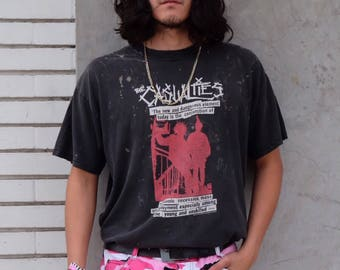 Vtg The Casualties Bleached Punk Rock Tee