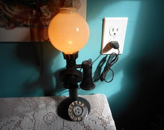 Antique Illuminated Globe Top Rotary Dial Telephone Lamp. Vintage Lighting. Office Secretary Gift. Unique old fashioned Bell Phone 110V