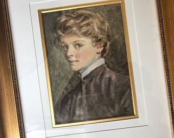 Antique Watercolor Portrait English Watercolor Womans Portrait Signed Antique Art