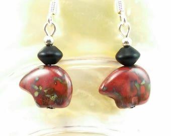 Red Spirit Bear Czech Glass Bead Earrings -108A