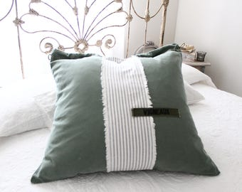 FRENCH vintage ARMY Pillow Euro SHAM, Military Canvas, Authentic Ticking, Officer French name Badge