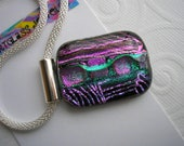 "Dichroic Pendant Black with Purple, Fuschia, and Green Abstract Design Multi-Layered Fused Glass Statement Necklace 20"" Cord Silver Mesh"