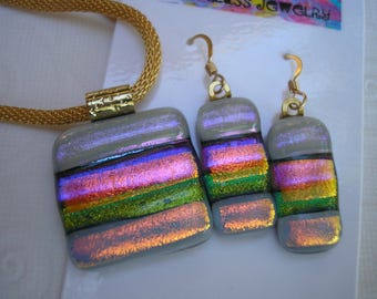 Mango Multicolor Pendant and Earrings Set, Fused Dichroic Glass Jewelry, India Wedding Colors,  Iridescent Glass Jewelry, Gold Metals