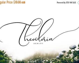 80% OFF Theodoria Script Font, Digital Font, Wedding Font, Calligraphy, Hand Writing, Logo