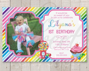 1st Birthday Invitations, Candy Sweet Shoppe Invitations, Rainbow Party Invites, Candy Land Birthday, Sweet Shop Birthday Party - Set of 12