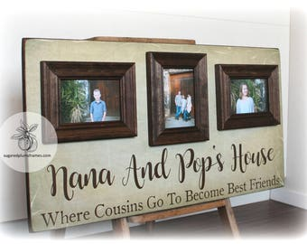 Where Cousins Go To Become Best Friends, Personalized Grandparents Gift, Picture Frame for Grandparents, Mothers Day Gift 16x30