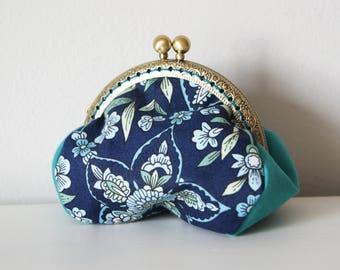 Andalucia Coin Purse Frame. Printed Cotton Fabric. Metal Purse Frame. Blue Coin Purse Frame. Flowers Coin Purse.