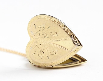 Vintage Rosy Yellow Gold Filled Over Sterling Heart Locket Necklace - 1940s WWII Era Flower Floral Sweetheart Large Pendant Charm Jewelry