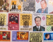 Chess Please 20 Vintage Chess Postage Stamps Checkmate Bishop Knight Queen King Pawn Rook Castle Tournament Scrapbooking Worldwide Philately