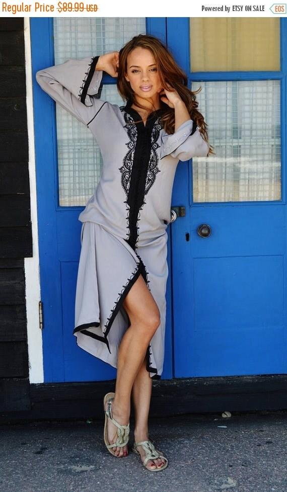 Autumn Dress 20% OFF/ Grey with Black Caftan Kaftan Maxi Dress -Lella  Style -loungewear, as resortwear,spa robe, great for Eid, Birthdays o